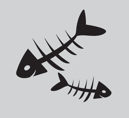 fishbone vector illustration, web icon, sign