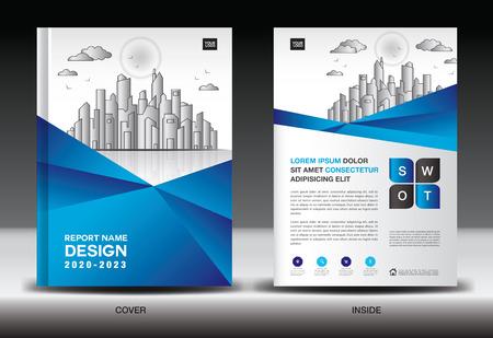 Modello di copertina blu con paesaggio della città, copertina del rapporto annuale, modello di volantino brochure aziendale, pubblicità, profilo aziendale, annunci di riviste, libro, poster, infografica, layout vettoriale, formato A4