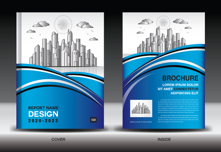 Blue Cover template With city landscape, Annual report cover design, Business brochure flyer template, advertisement, company profile, magazine ads, book, poster, infographics, vector layout, A4 size Banque d'images - 120483377