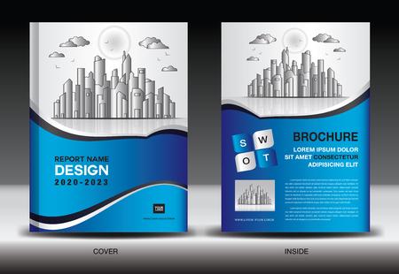 Blauwe voorbladsjabloon met stadslandschap, jaarverslag omslagontwerp, sjabloon voor bedrijfsbrochure, flyer, advertentie, bedrijfsprofiel, tijdschriftadvertenties, boek, poster, infographics, vectorlay-out, A4-formaat