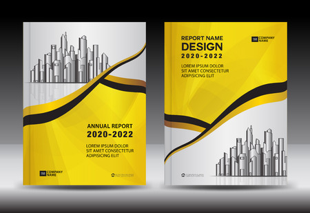 Yellow Cover template With city landscape, Annual report cover design, Business brochure flyer template, advertisement, company profile, magazine ads, book, poster, infographics, vector layout, A4 size