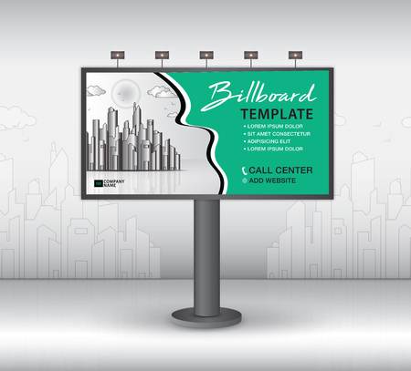 Billboard design vector, banner template, advertisement, Realistic construction for outdoor advertising on city background, business brochure flyer, creative background