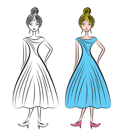 Young woman in different  dresses vector illustration, fashion female model , beautiful girl model, fashion style, sketch drawing