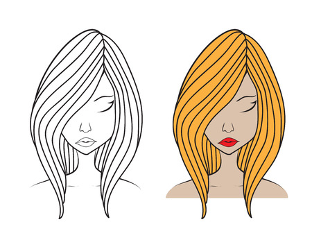 Beautiful woman face vector illustration, girl model, Fashion style, beauty. Graphic, sketch drawing, logo salon, long hair style icon, spa