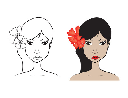 Beautiful woman face with flower vector illustration, girl model, Fashion style, beauty. Graphic, sketch drawing, logo salon, long hair style icon, spa