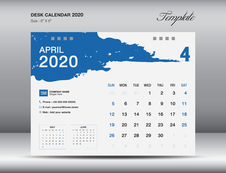 Desk Calendar 2020 template vector, APRIL 2020 month, business layout, 8x6 inch, Week starts Sunday, Stationery design, flyer layout, printing media, publication template, printing design