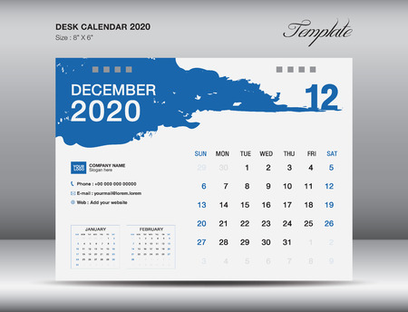 Desk Calendar 2020 template vector, DECEMBER 2020 month, business layout, 8x6 inch, Week starts Sunday, Stationery design, flyer layout, printing media, publication template, printing design