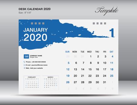 Desk Calendar 2020 template vector, JANUARY 2020 month, business layout, 8x6 inch, Week starts Sunday, Stationery design, flyer layout, printing media, publication template, printing design Stock Illustratie