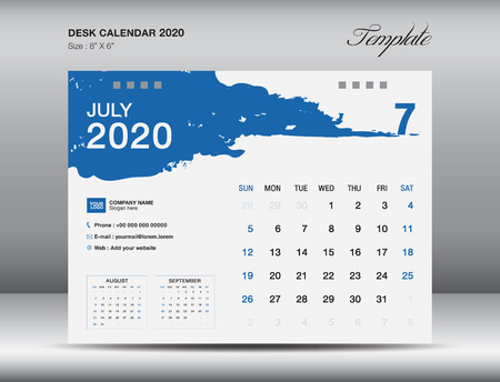 Desk Calendar 2020 template vector, JULY 2020 month, business layout, 8x6 inch, Week starts Sunday, Stationery design, flyer layout, printing media, publication template, printing design