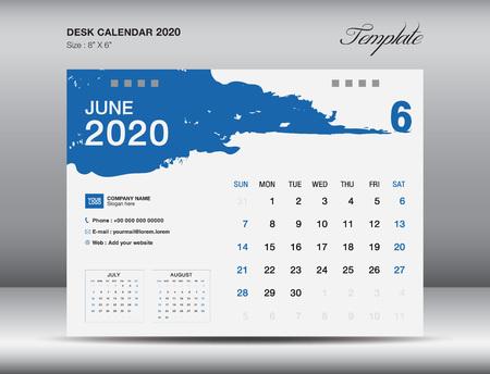 Desk Calendar 2020 template vector, JUNE 2020 month, business layout, 8x6 inch, Week starts Sunday, Stationery design, flyer layout, printing media, publication template, printing design Stock Illustratie