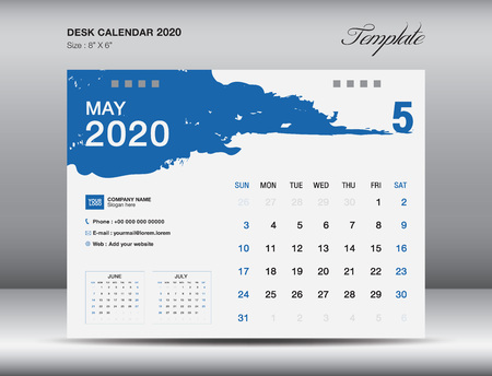 Desk Calendar 2020 template vector, MAY 2020 month, business layout, 8x6 inch, Week starts Sunday, Stationery design, flyer layout, printing media, publication template, printing design