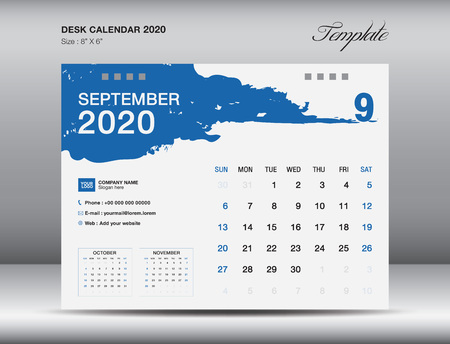 Desk Calendar 2020 template vector, SEPTEMBER 2020 month, business layout, 8x6 inch, Week starts Sunday, Stationery design, flyer layout, printing media, publication template, printing design