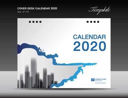 Cover Desk Calendar 2020 Design, flyer template, ads, booklet, catalog, newsletter, book cover, annual report cover,  blue background design