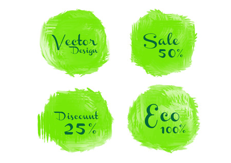 Green watercolor circle paint, Grunge circle, icon design, Hand drawn design elements, vector brush strokes, sale banner