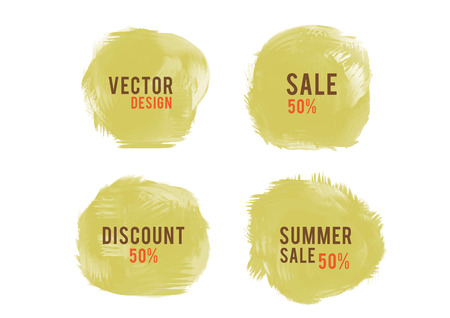 Yellow watercolor circle paint, Grunge circle, icon design, Hand drawn design elements, vector brush strokes, sale banner Stock Illustratie