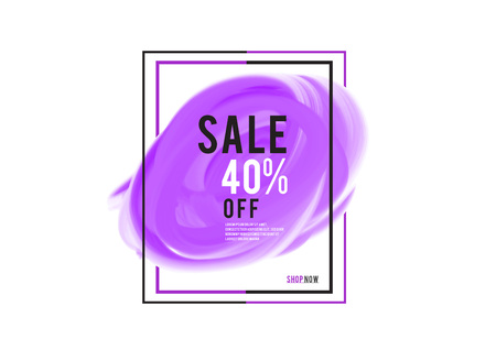 purple watercolor circle paint with frame, Grunge circle, icon design, Hand drawn design elements, vector brush strokes, sale banner Stock Illustratie