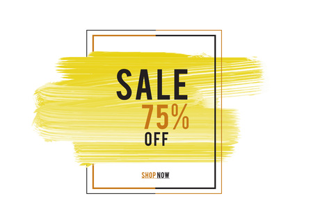 Sale 75% off; Sale banner, yellow watercolor art brush stroke with frame, Grunge circle, icon design, Hand drawn design elements, vector brush strokes