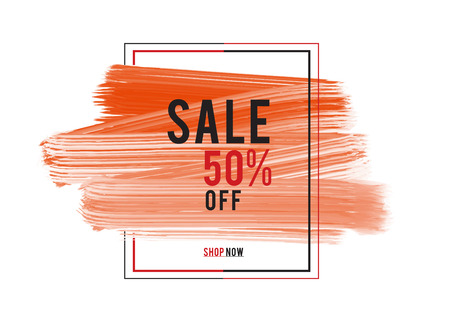 Sale 50% off; Sale banner, red watercolor art brush stroke with frame, Grunge circle, icon design, Hand drawn design elements, vector brush strokes Stock Illustratie