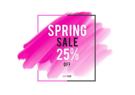 Spring Sale 25% off; Sale banner, pink watercolor art brush stroke with frame, Grunge circle, icon design, Hand drawn design elements, vector brush strokes