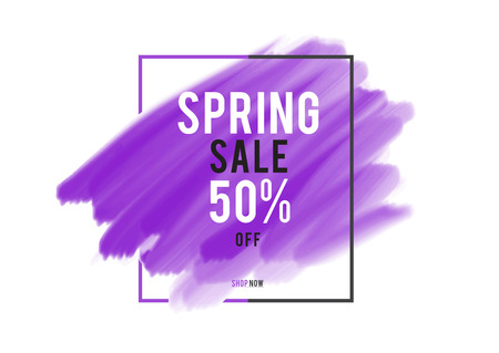 Spring Sale 50% off; Sale banner, purple watercolor art brush stroke with frame, Grunge circle, icon design, Hand drawn design elements, vector brush strokes