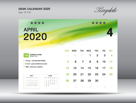 Desk Calendar 2020 template vector, APRIL 2020 month with green watercolor brush stroke, business layout, 8x6 inch, Week starts Sunday, Stationery design, printing media, publication template Illustration