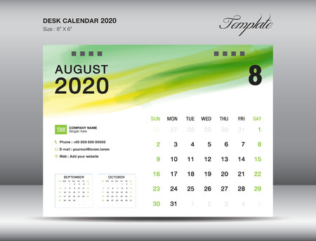 Desk Calendar 2020 template vector, AUGUST 2020 month with green watercolor brush stroke, business layout, 8x6 inch, Week starts Sunday, Stationery design, printing media, publication template