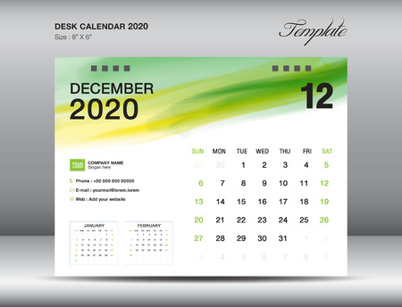 Desk Calendar 2020 template vector, DECEMBER 2020 month with green watercolor brush stroke, business layout, 8x6 inch, Week starts Sunday, Stationery design, printing media, publication template