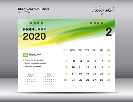 Desk Calendar 2020 template vector, FEBRUARY 2020 month, business layout, 8x6 inch, Week starts Sunday, Stationery design, flyer layout, printing media, publication template, printing design