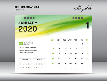 Desk Calendar 2020 template vector, JANUARY 2020 month with green watercolor brush stroke, business layout, 8x6 inch, Week starts Sunday, Stationery design, printing media, publication template Stock Illustratie