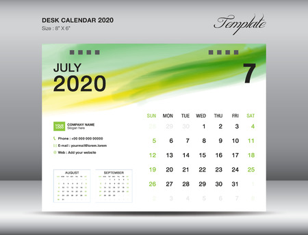 Desk Calendar 2020 template vector, JULY 2020 month with green watercolor brush stroke, business layout, 8x6 inch, Week starts Sunday, Stationery design, printing media, publication template Stock Illustratie