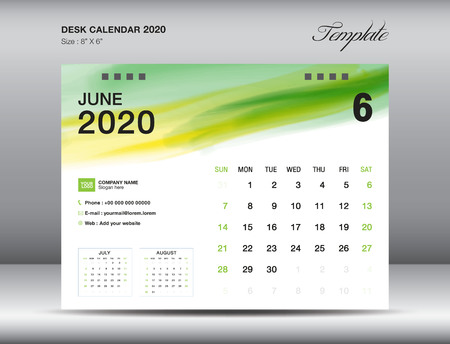 Desk Calendar 2020 template vector, JUNE 2020 month with green watercolor brush stroke, business layout, 8x6 inch, Week starts Sunday, Stationery design, printing media, publication template