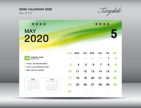 Desk Calendar 2020 template vector, MAY 2020 month with green watercolor brush stroke, business layout, 8x6 inch, Week starts Sunday, Stationery design, printing media, publication template