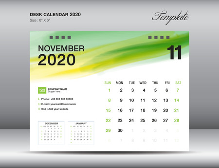 Desk Calendar 2020 template vector, NOVEMBER 2020 month with green watercolor brush stroke, business layout, 8x6 inch, Week starts Sunday, Stationery design, printing media, publication template Stock Illustratie