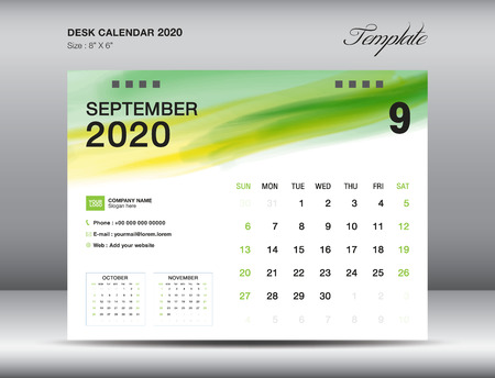 Desk Calendar 2020 template vector, SEPTEMBER 2020 month with green watercolor brush stroke, business layout, 8x6 inch, Week starts Sunday, Stationery design, printing media, publication template