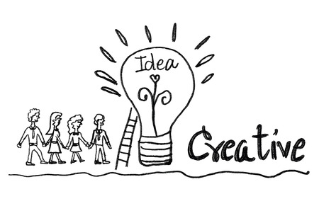light bulb icon with business man and business woman vector illustration. creative idea concept, teamwork concept, doodle hand drawn sign, cartoon, black color