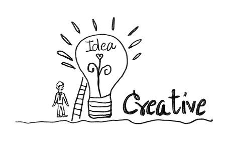 light bulb icon with business man vector illustration. creative idea concept, teamwork concept, doodle hand drawn sign, cartoon, black color
