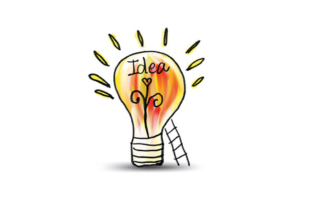 Light bulb icon with staircase vector illustration. Concept or creative thinking, doodle hand drawn sign, cartoon