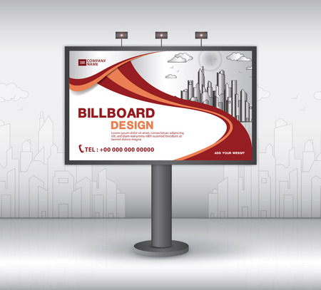 Billboard banner template vector design, advertisement, Realistic construction for outdoor advertising on city background, vector template design