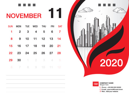 Desk Calendar 2020 template vector, NOVEMBER 2020 month, business layout, 8x6 inch, Week starts Sunday, Stationery design, printing media, publication template Illustration