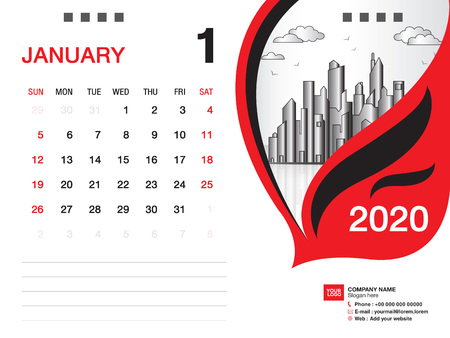 Desk Calendar 2020 template vector, JANUARY 2020 month, business layout, 8x6 inch, Week starts Sunday, Stationery design, printing media, publication template Stock Illustratie