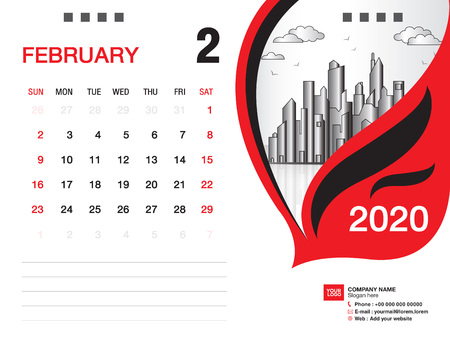 Desk Calendar 2020 template vector, FEBRUARY 2020 month, business layout, 8x6 inch, Week starts Sunday, Stationery design, printing media, publication template Stock Illustratie