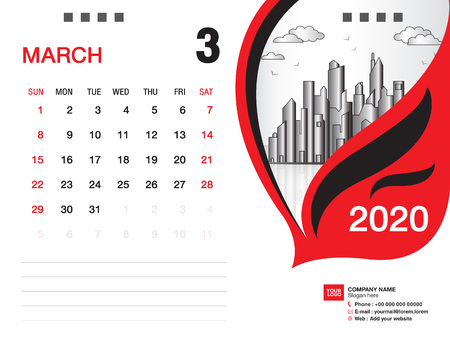 Desk Calendar 2020 template vector, MARCH 2020 month, business layout, 8x6 inch, Week starts Sunday, Stationery design, printing media, publication template