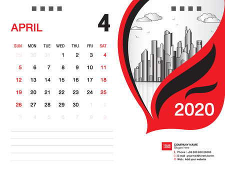 Desk Calendar 2020 template vector, APRIL 2020 month, business layout, 8x6 inch, Week starts Sunday, Stationery design, printing media, publication template
