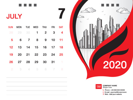 Desk Calendar 2020 template vector, JULY 2020 month, business layout, 8x6 inch, Week starts Sunday, Stationery design, printing media, publication template
