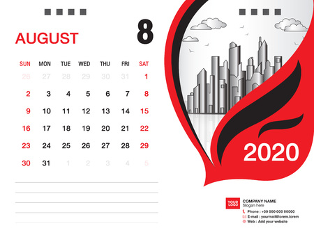 Desk Calendar 2020 template vector, AUGUST 2020 month, business layout, 8x6 inch, Week starts Sunday, Stationery design, printing media, publication template