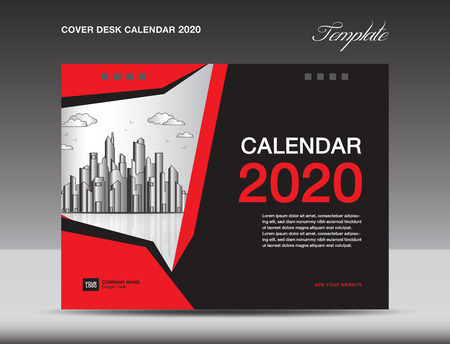 Cover Desk Calendar 2020 Design, flyer template, ads, booklet, catalog, newsletter, book cover, annual report cover, Red background design
