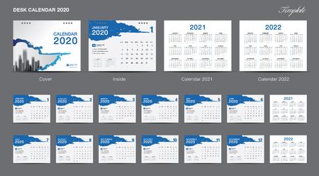 Zestaw kalendarza biurkowego 2020 szablon wektor, kalendarz 2020, 2021, 2022, projekt okładki, zestaw 12 miesięcy, tydzień zaczyna się w niedzielę, projekt papeterii, ulotka, układ drukowania, publikacja, reklama