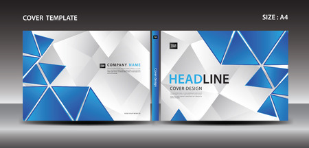 Blue Cover design template for magazine, ads, presentation, annual report, book, leaflet, poster, catalog, printing media, newsletter, business brochure flyer, Horizontal layout vector. A4