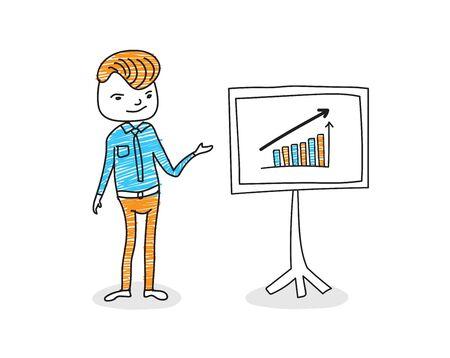 Businessman presenting marketing data on a presentation screen board explaining charts, infographic. hand drawn vector illustration.