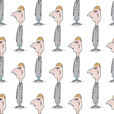 seamless pattern, Doodle man cartoon, Pastor cartoon character, hand drawn vector illustration, fabric texture, teacher, people, Gift wrapping paper, pastel background